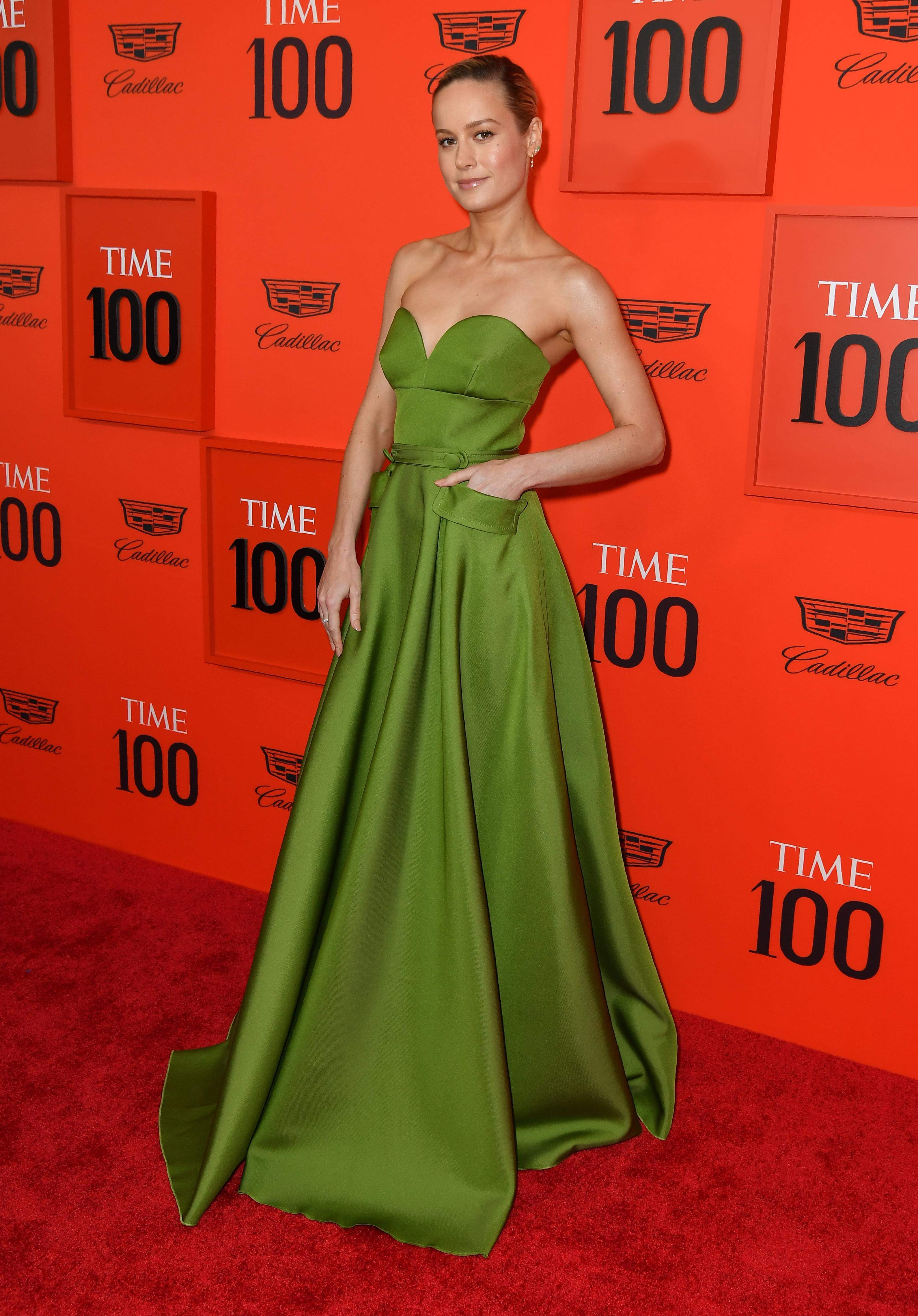 US actress Brie Larson arrives on the red carpet for the Time 100 Gala at the Lincoln Center in New York on April 23, 2019