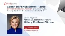Former U.S. Secretary of State Hillary Rodham Clinton to Keynote FireEye Cyber Defense Summit
