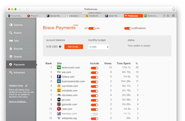 Brave browser lets you tip your favorite sites in bitcoin