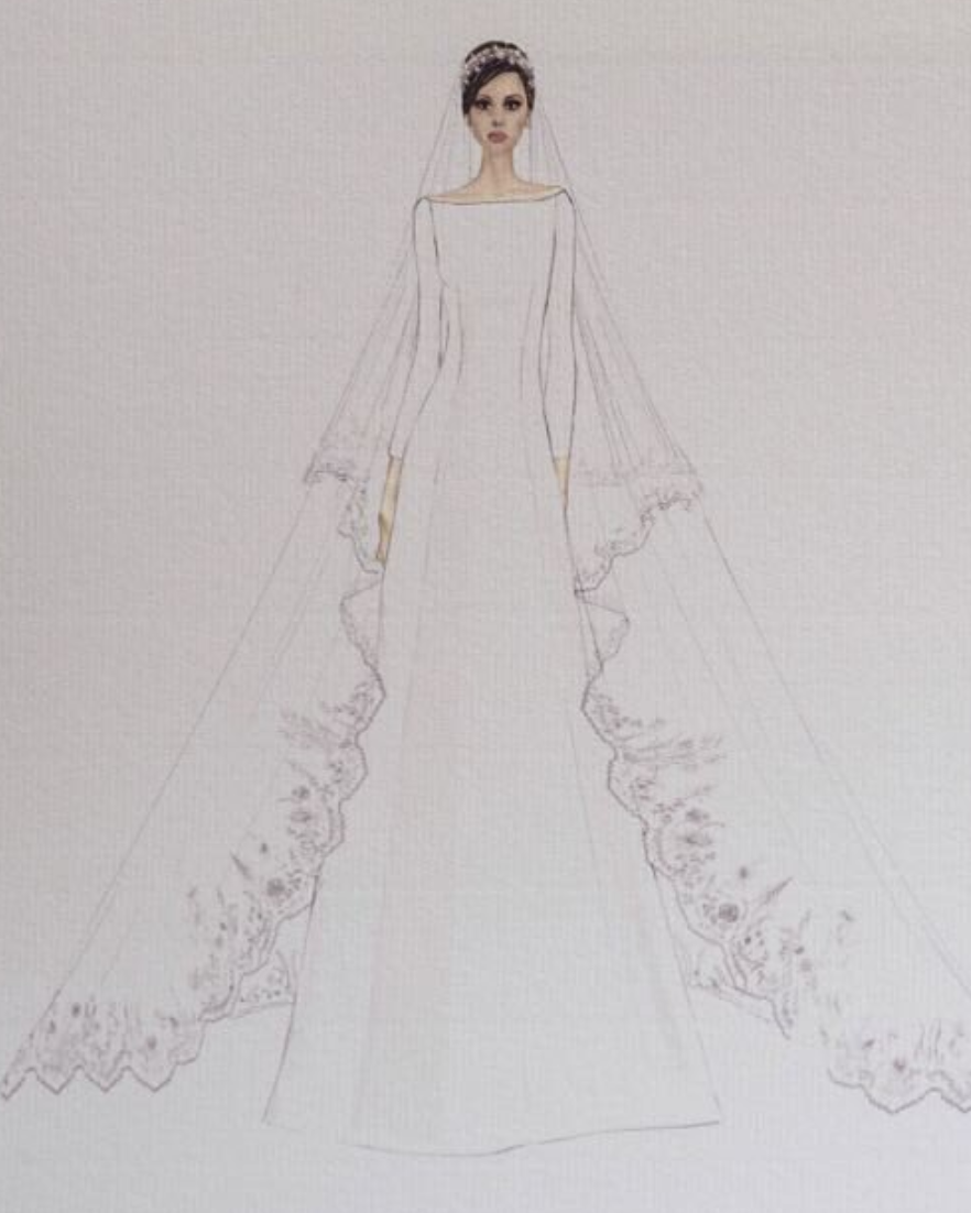 See sketches of Meghan Markle\'s wedding dress