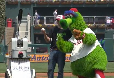 UPenn's PhillieBot throws out first pitch, Skynet calls for a reliever (video)