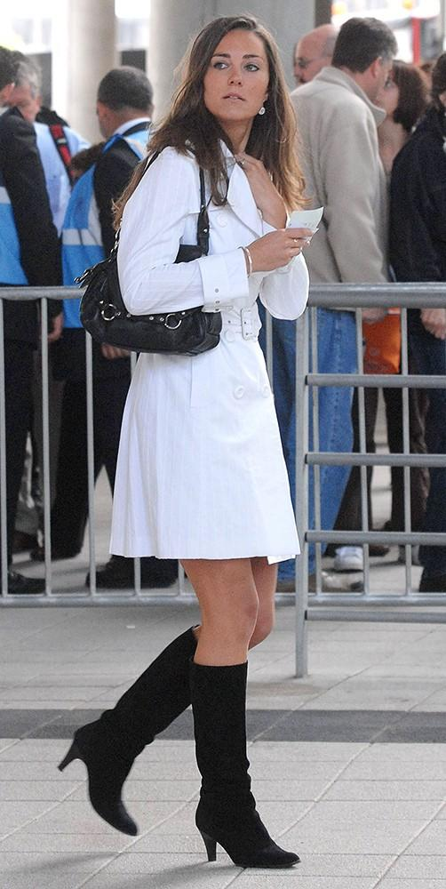 Kate attended the Concert for Diana in London, wearing a white trench and black heeled boots.
