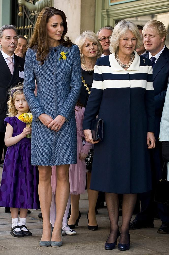 Kate wore this slightly distressed tweed Missoni coat to tea with the Queen and Camilla.