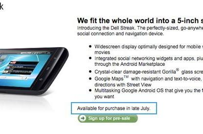 Dell Streak available for purchase 'in late July,' says US product page