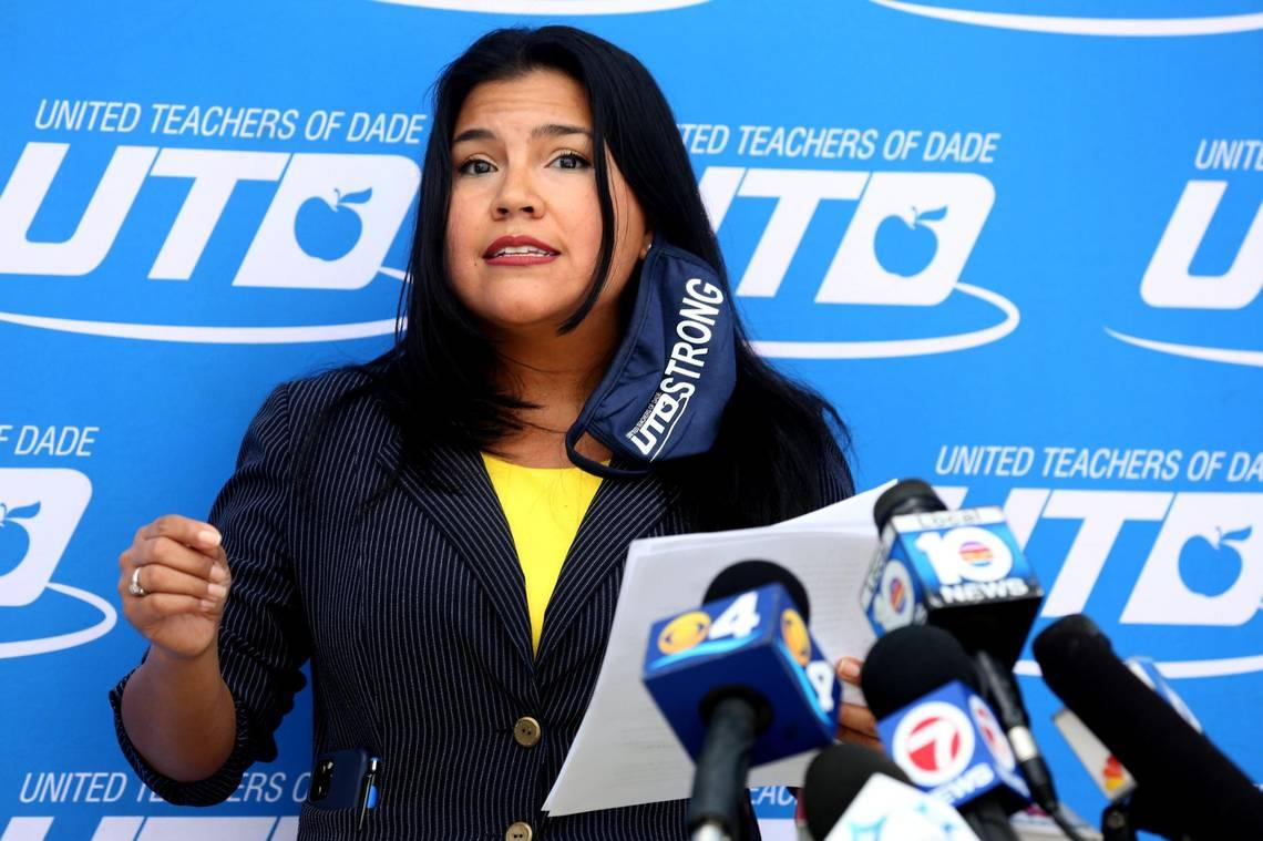 United Teachers of Dade President Karla Hernandez-Mats, who was joined by members of the Broward Teachers Union, speaks during a press conference about the health and safety gaps that need to be addressed before the reopening of schools in both counties. They gathered at the UTD headquarters in Miami Springs on Wednesday, Sept. 16, 2020.