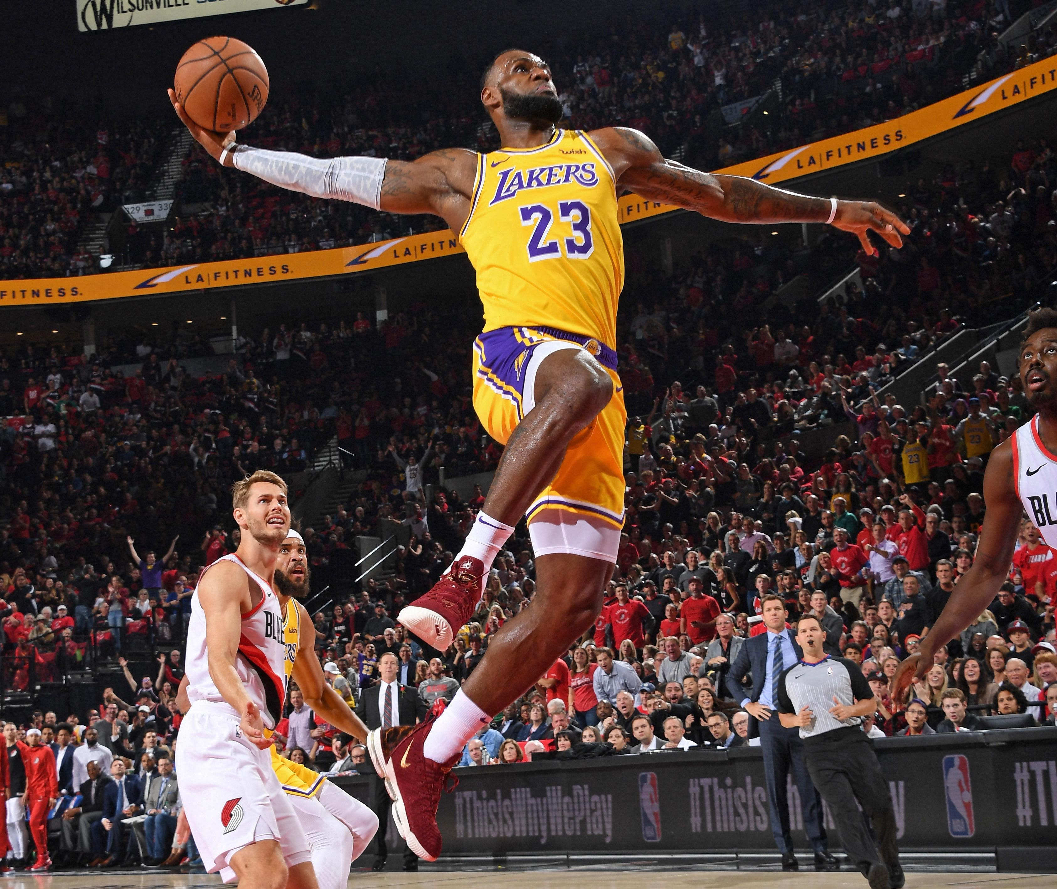9da0f4747e0 Blazers spoil LeBron James  Lakers debut