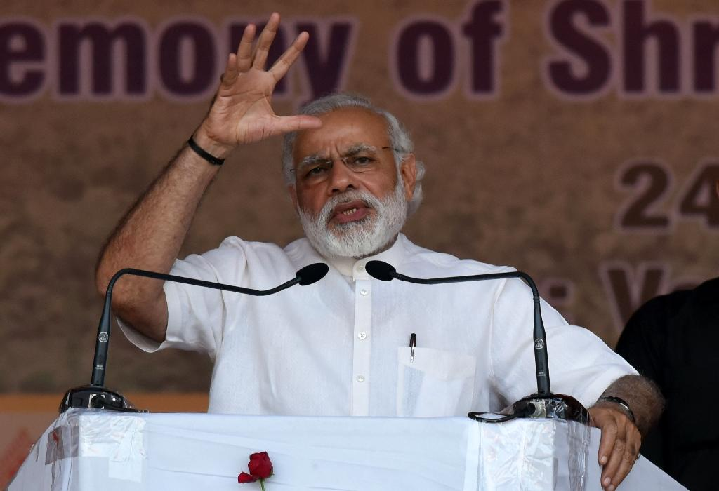 India's Prime Minister Narendra Modi boasted of his right-wing government's graft-free record to date