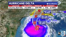 Delta now a Category 3 hurricane with 115 mph winds
