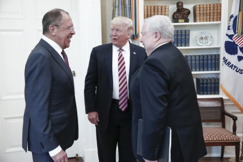 Trump meets with Russian Foreign Minister Sergei Lavrov (left) and Ambassador to the U.S. Sergei Kislyak (right) at the White House last week. (Photo: Handout via the Russian Foreign Ministry)