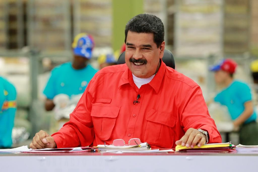 Venezuelan President Nicolas Maduro during a television programme in Caracas on January 8, 2017