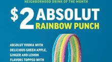Applebee's® New $2 ABSOLUT® Rainbow Punch is Made with Vodka and Tastes Like Spring