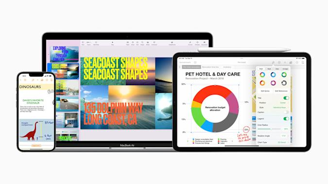 Apple iWork apps Keynote, Numbers and Pages