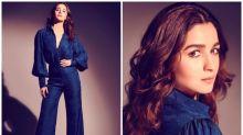 Alia Bhatt Makes Heads Turn in a Stunning Blue Jacquard Jumpsuit