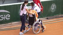 Kiki Bertens leaves court in wheelchair after win