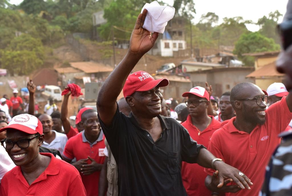 Samura Kamara, seen here during a campaign rally on March 24, says the election count was flawed (AFP Photo/ISSOUF SANOGO)