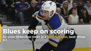 Blues score 4 times in 5-shot span, beat Red Wings 6-1