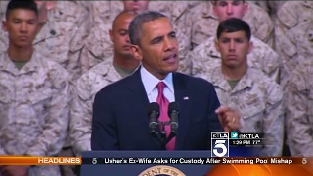 Obama Thanks Troops at Camp Pendleton Before Leaving SoCal
