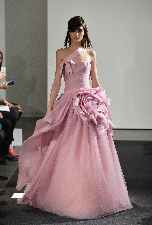 Vera wang debuts pink wedding dress collection at bridal for Pink wedding dress vera wang