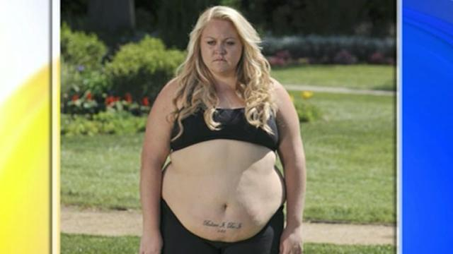 Obese Woman Tattoos Weight Goal on Stomach