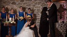 Bride recites vows to her stepson and his mother during wedding ceremony