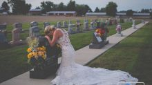 Bride of fallen firefighter takes wedding photos alone to honor late husband