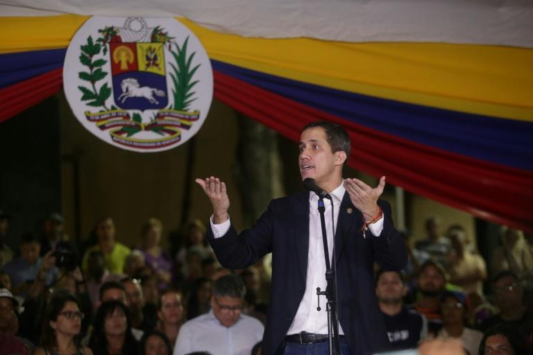 Juan Guaido, speaking at a rally on February 11, returned to Venezuela with renewed vigor and the belief he can fire up street protests once again (AFP Photo/CRISTIAN HERNANDEZ)