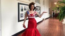 Joy Villa clashes with journalists at social media summit wearing dress President Trump praised