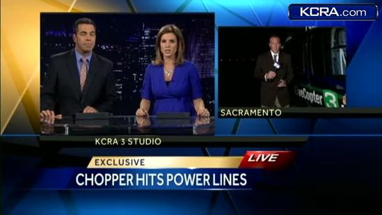 Sacramento police helicopter hits power line