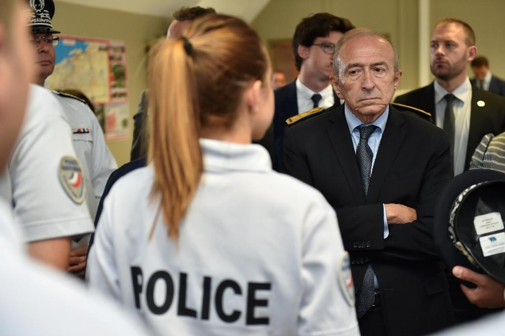 French Interior Minister Gerard Collomb, visiting Calais for the first time on Friday, ruled out opening an asylum centre at the port (AFP Photo/Philippe HUGUEN)