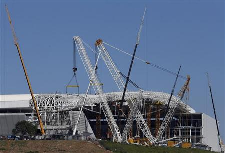 A general view of the Arena de Sao Paulo Stadium in Sau Paulo