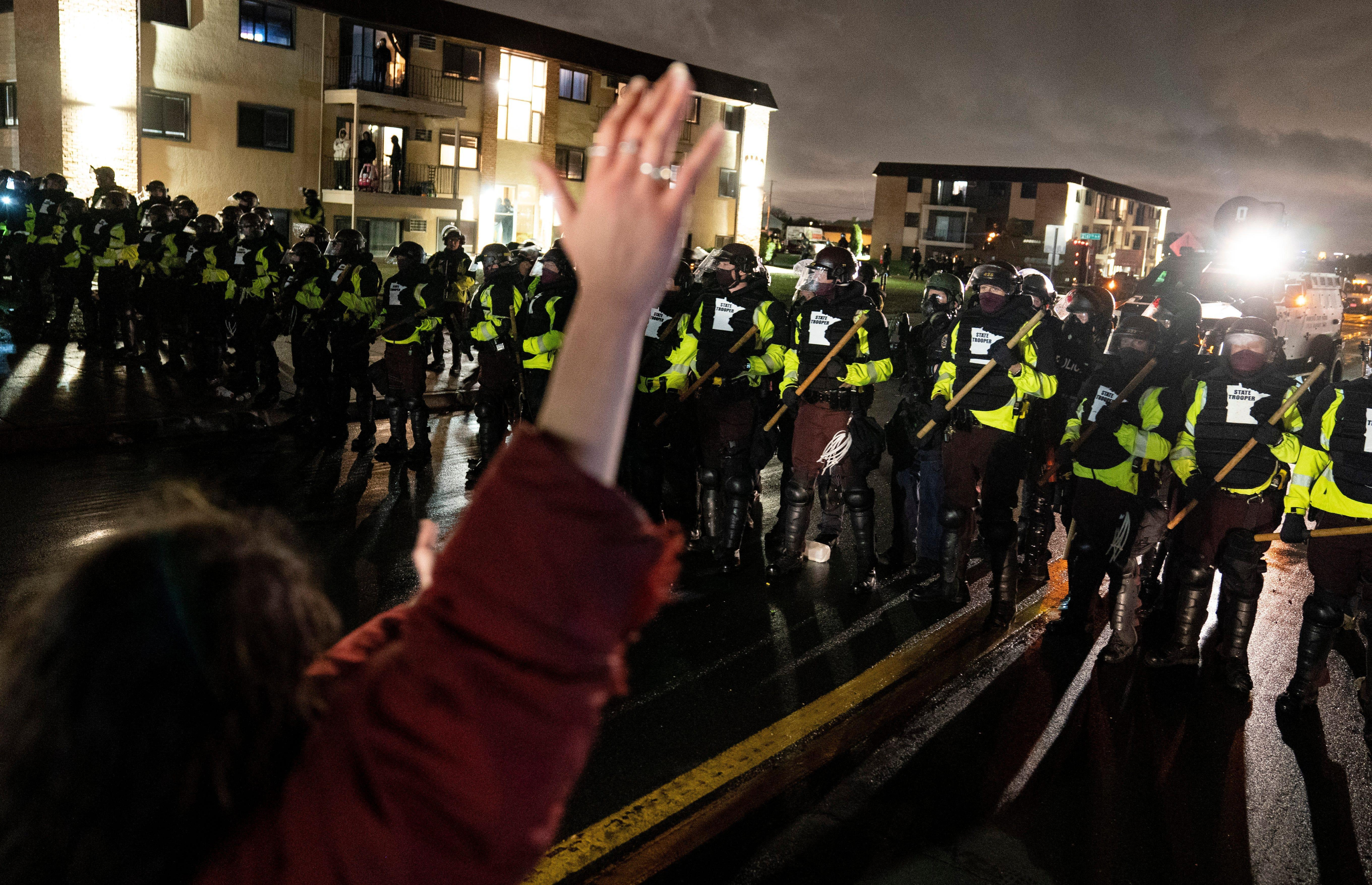 Protesters face off with state troopers in a city on edge