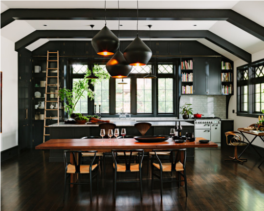 """<p>Sophisticated, bold, badass black is where it's at. It's the new neutral. The deep color can make a small kitchen look amazing and, in a large, open kitchen like this, helps ground the space. <i>(Photo: <a href=""""http://www.houzz.com/pro/theworkspdx/the-works"""" rel=""""nofollow noopener"""" target=""""_blank"""" data-ylk=""""slk:The Works via Houzz"""" class=""""link rapid-noclick-resp"""">The Works via Houzz</a>)</i><br></p>"""