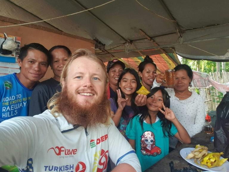 Bardelis made stops along the way, meeting up with locals, including on Sulawesi island, Indonesia (AFP Photo/Karlis Bardelis)