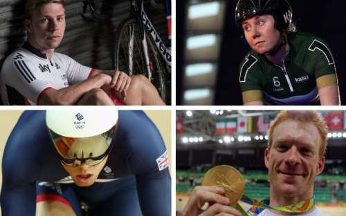 Philip Hindes (left to right, clockwise), Katie Archibald, Ed Clancy and Ryan Owens will all be in action in Manchester this weekend at the second of this season's five Track World Cup meetings