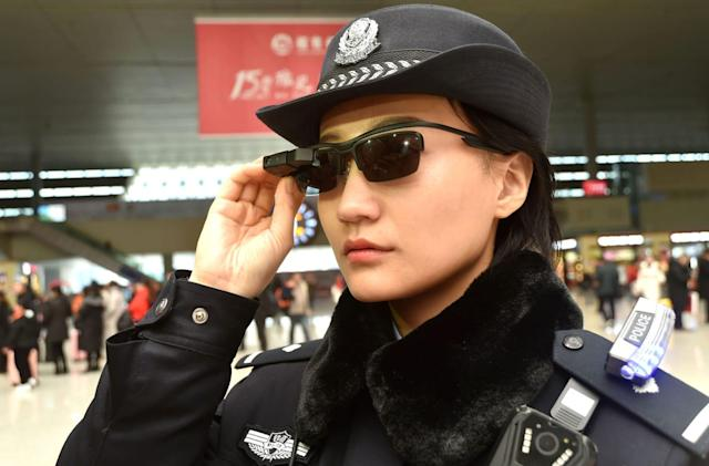 Police in China are scanning travelers with facial recognition glasses