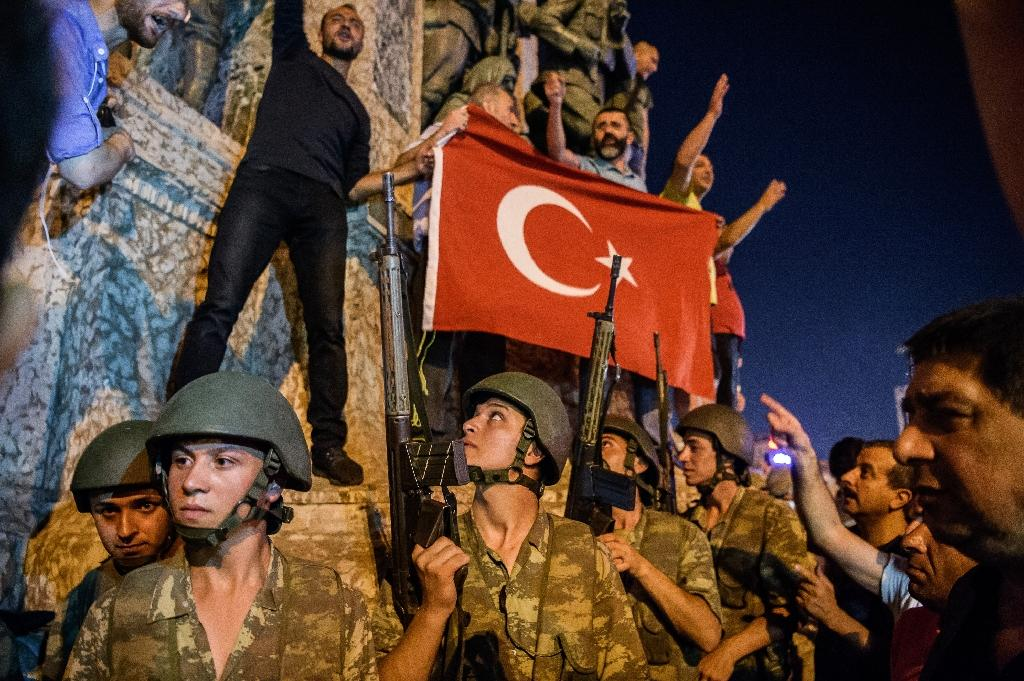 Turkish solders at Taksim square as people protest against the military coup in Istanbul on July 16, 2016