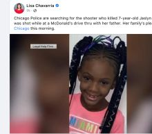 7-year-old girl fatally shot in McDonald's drive-thru, Illinois police say