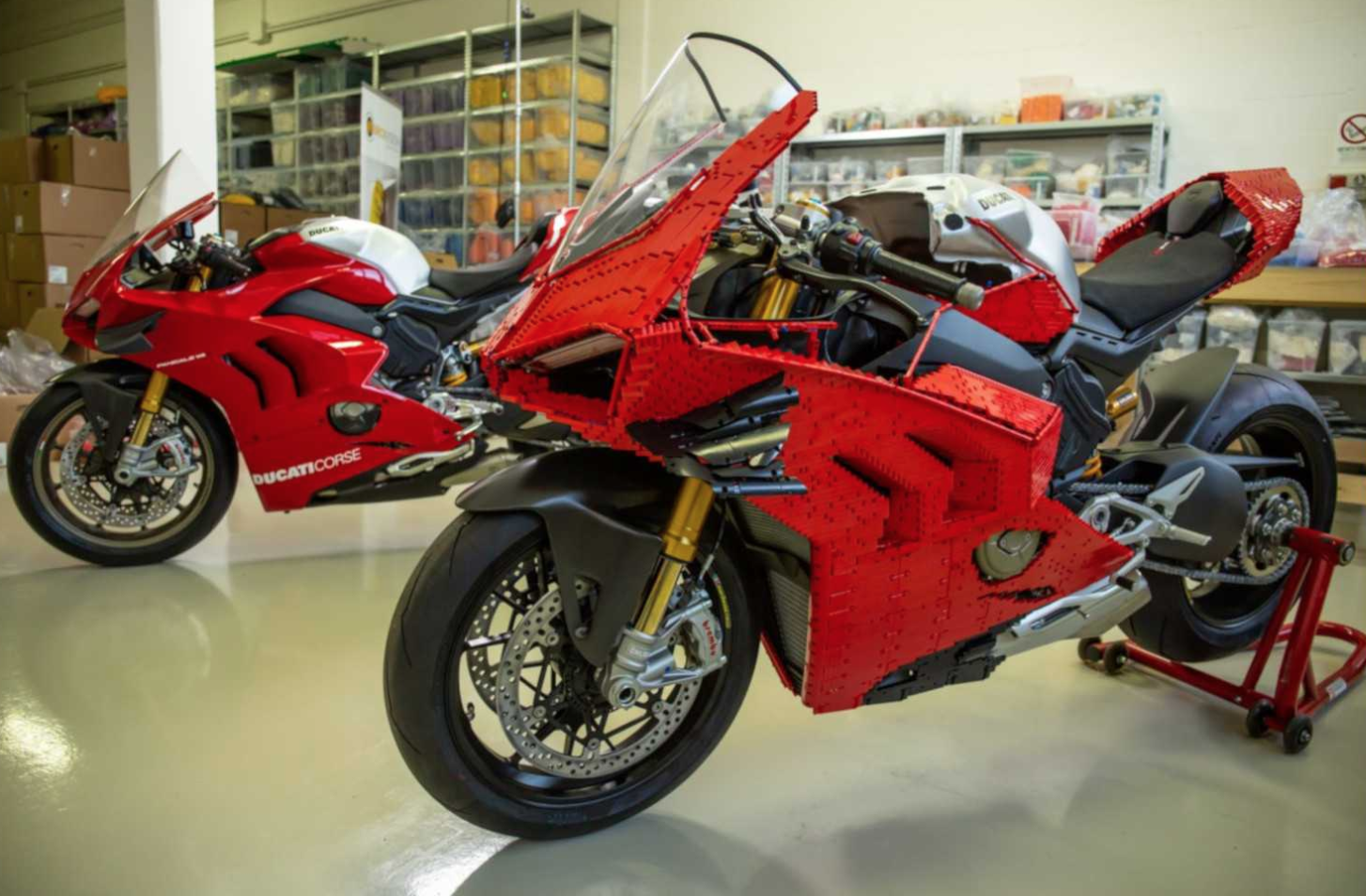 Lego built a functioning Ducati motorcycle out of 15,000 building blocks