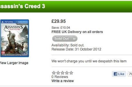 Report: UK retailers list Assassin's Creed 3 and 'Ghost Recon: Final Mission' for Vita