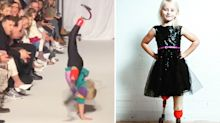 Double amputee, 8, cartwheels down the catwalk at London Kids' Fashion Week