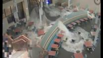 Shocking video shows moment flood smashes through hospital