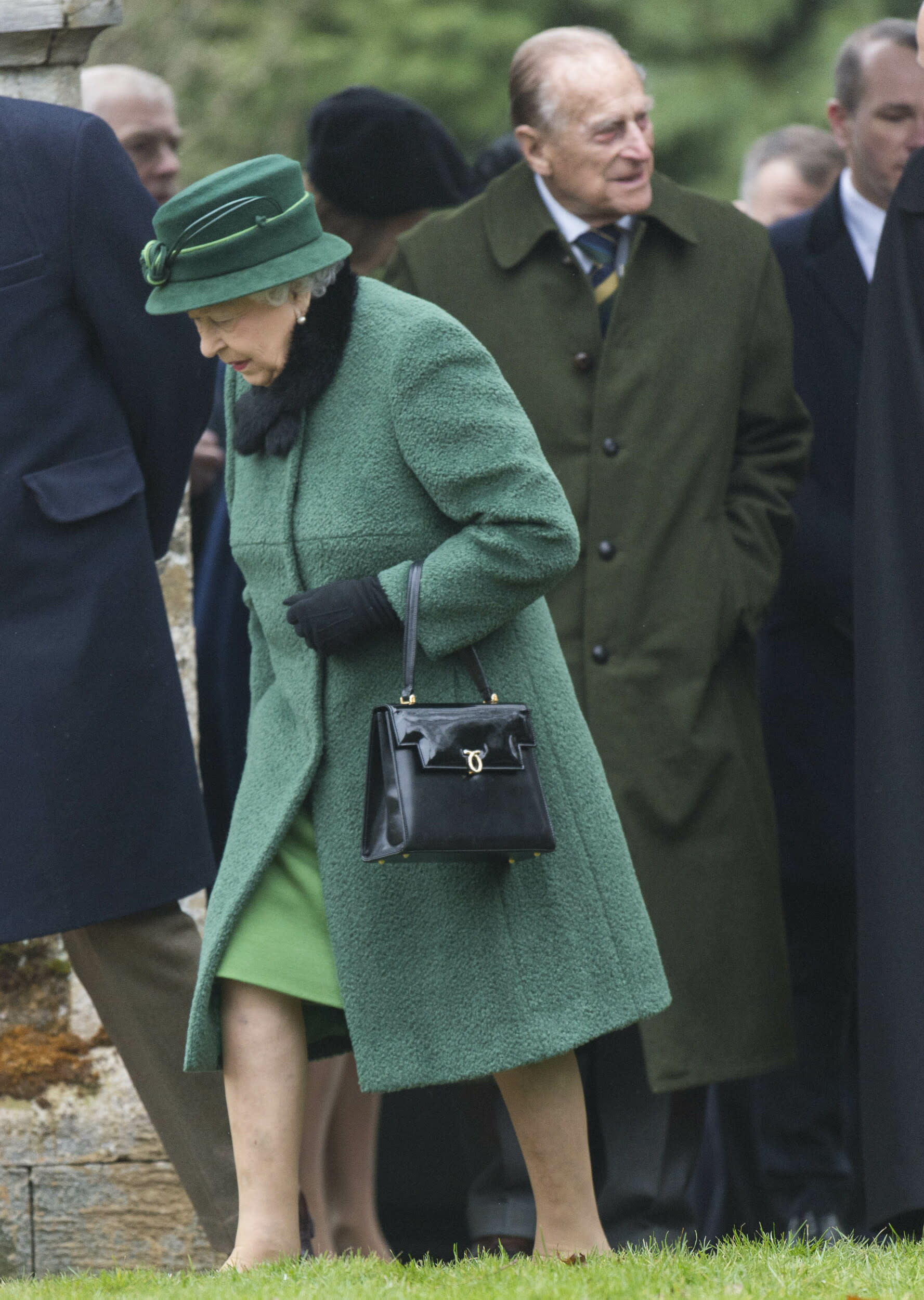 Photo by: KGC-178/STAR MAX/IPx 2018 1/21/18 Queen Elizabeth II, Prince Philip, Prince Andrew, Princess Beatrice and Princess Eugenie arrive at St Lawrence Church in Castle Rising, Norfolk, England.
