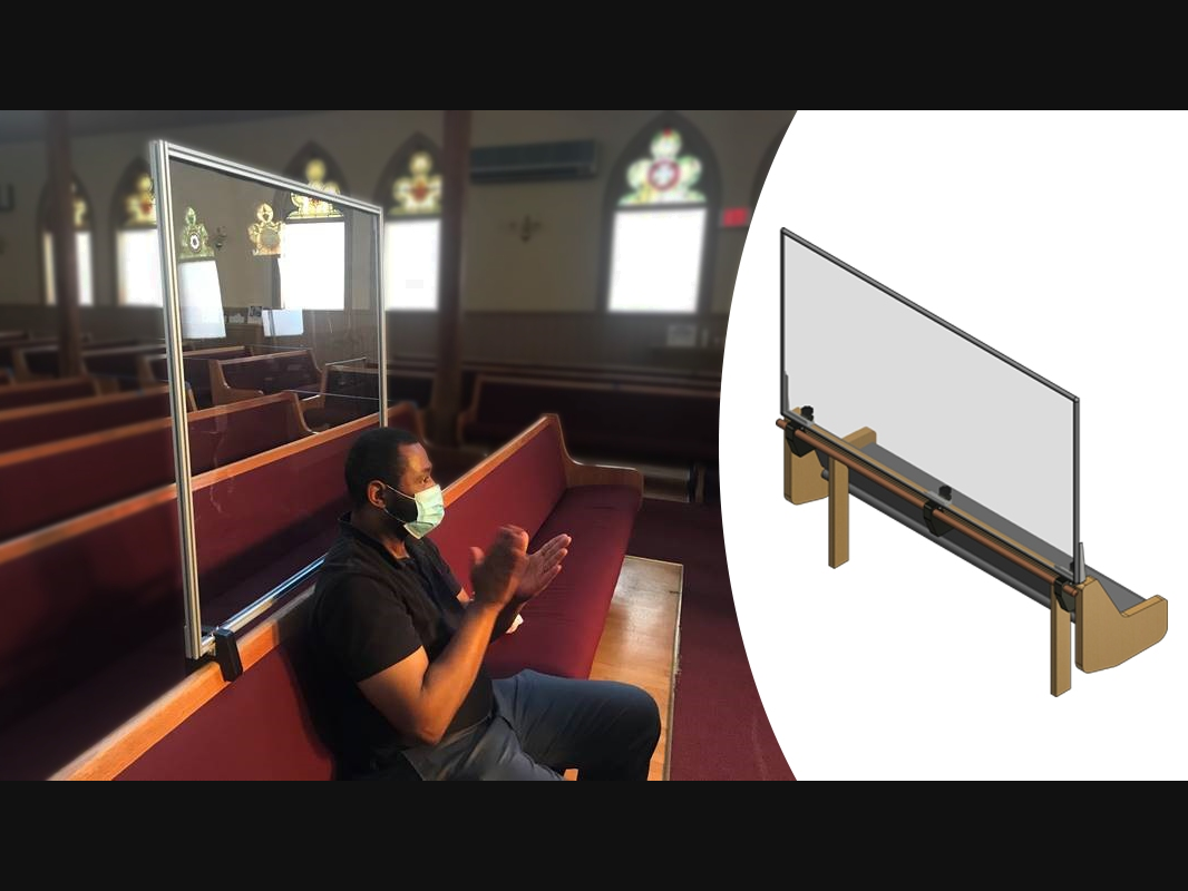 The company with headquarters in New Berlin created the FaithShield for pews and other places of worship.