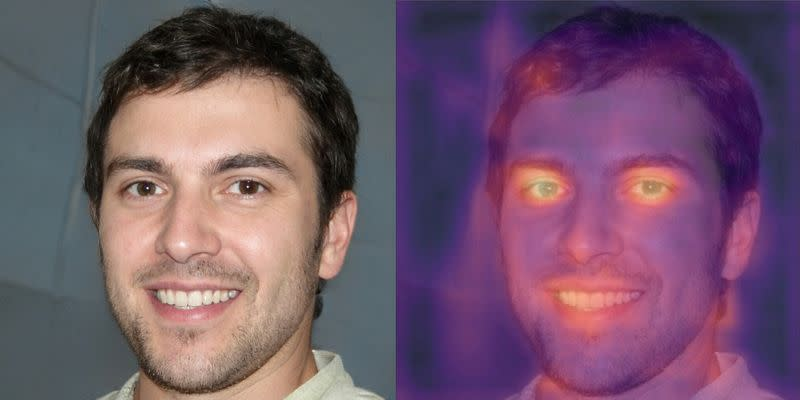 A combination photograph shows an image purporting to be of British student and freelance writer Oliver Taylor and a heat map of the same photograph produced by Tel Aviv-based deepfake detection company Cyabra