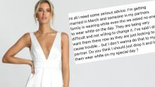 Bride furious over 'rude' outfit choice for wedding