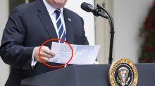 Twitter Users Mock The 'Achomlishments' On Trump's Handwritten Presser Notes