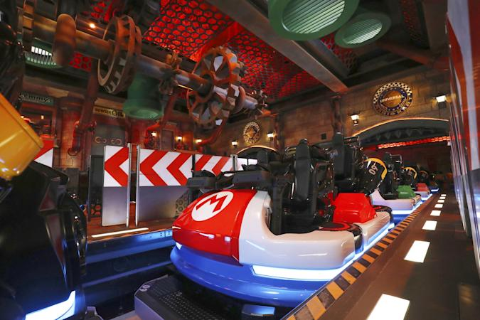 General view shows Mario Kart Station at Super Nintendo World, a new attraction area featuring the popular video game character Mario which are set to open in the spring of 2021, at the Universal Studios Japan theme park in Osaka, western Japan, November 30, 2020, in this photo taken by Kyodo.  Mandatory credit Kyodo/via REUTERS ATTENTION EDITORS - THIS IMAGE WAS PROVIDED BY A THIRD PARTY. MANDATORY CREDIT. JAPAN OUT.