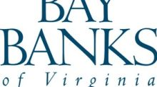 Bay Banks of Virginia, Inc. Reports Second Quarter and First Half 2019 Results