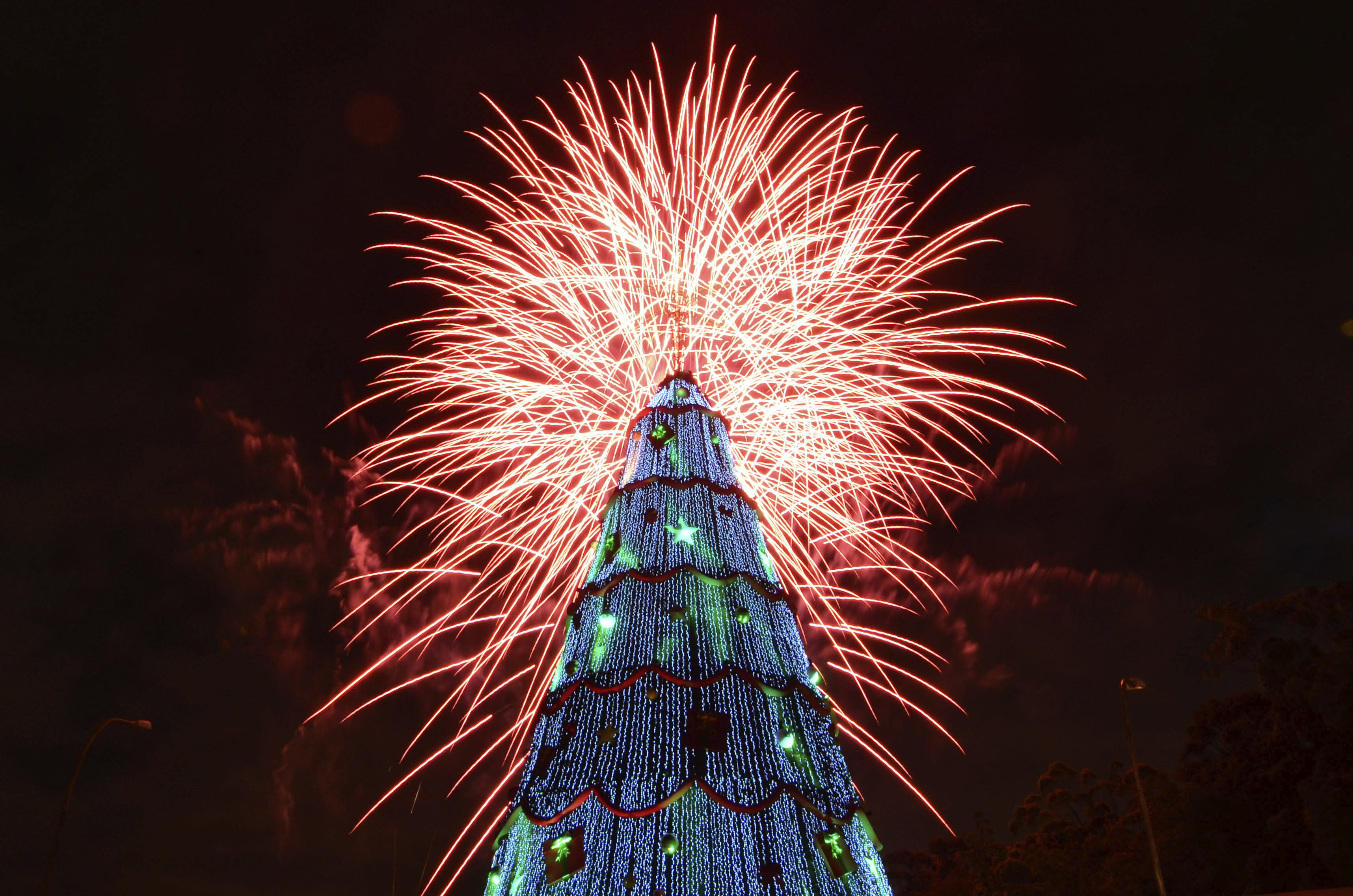 """Show of fireworks at the opening of the large traditional Christmas tree in the city of S""""o Paulo. The structure is almost 60 feet tall and has more than 500 lamps and 264 000 stroble micro-LED lamps on December 9, 2012 in Sao Paulo, Brazil. (Photo by Levi Bianco/News Free/LatinContent/Getty Images)"""