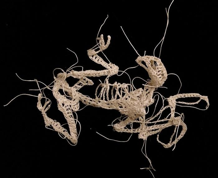 "<p>In order to capture a realistic skeletal look, McCormack has to make her material before crocheting it. She mixes glue with cotton string to replicate bone tissue. (Photo: <a href=""http://caitlintmccormack.com/home.html"" rel=""nofollow noopener"" target=""_blank"" data-ylk=""slk:Caitlin McCormack"" class=""link rapid-noclick-resp"">Caitlin McCormack</a>)<br></p>"